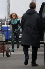 BRIE LARSON on the Set of Captain Marvel in Los Angeles 03/23/2018
