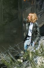 BRIE LARSON on the Set of Captain Marvel in Los Angeles 03/26/2018