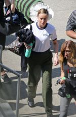 BRIE LARSON on the Set of Captain Marvel in Los Angeles 03/29/2018