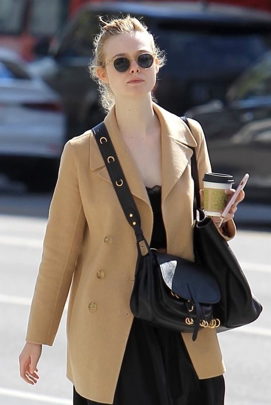 ELLE FANNING Out for Coffee in Beverly Hills 03/20/2018