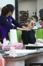 EMMA ROBERTS at a Spa Treatment at Beverly Hills Nail Design 03/04/2018