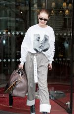 GIGI HADID Leaves Royal Monceau Hotel in Paris 03/29/2018