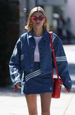 HAILEY BALDWIN in Adidas Denim Skirt at Zinque Cafe in West Hollywood 03/26/2018