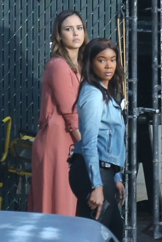 JESSICA ALBA and GABRIELLE UNION on the Set of Bad Boys Spinoff Pilot in Los Angeles 03/23/2018