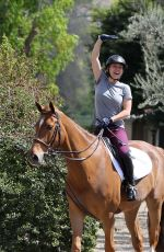 KALEY CUOCO on Trail with Her Horse Trainer in Los Angeles 03/15/2018