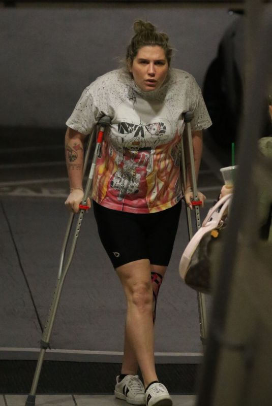 KESHA SEBERT on Crutches After Knee Surgery Out in Los Angeles
