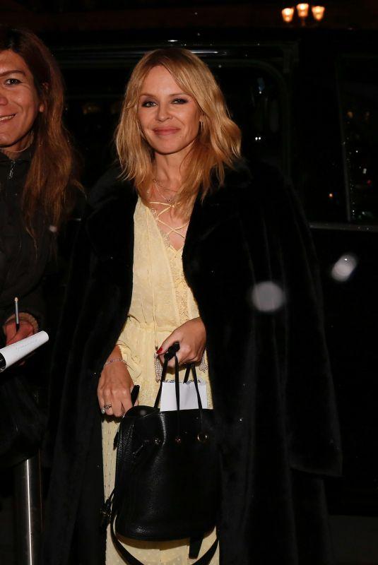 KYLIE MINOGUE Leaves Her Hotel in Paris 03/18/2018