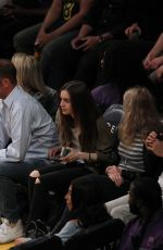 LILY COLLINS at Lakers Game at Staples Center in Los Angeles 03/28/2018