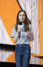 LILY COLLINS at We Day at Wembley Arena in London 03/07/2018