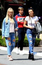 LOTTIE MOSS and EMILY BLACKWELL in Ripped Jeans Shopping at The Grove in Los Angeles 03/23/2018