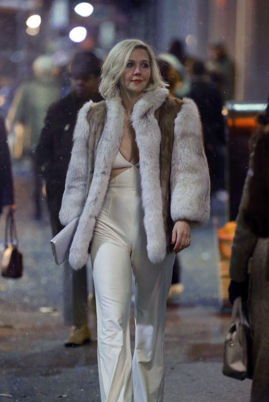 MAGGIE GYLLENHAAL on the Set of The Deuce, Season 2 in New York 03/16/2018
