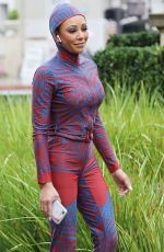 MELANIE BROWN in 20-Year Old Spice Girl Outfit Heading to America