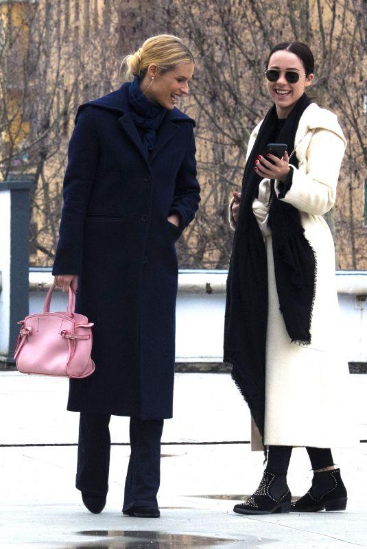 MICHELLE HUNZIKER and AURORA RAMAZZOTTI Out Shopping in Milan 03/19/2018
