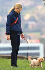 MICHELLE HUNZIKER Out at a Park in Bergamo 03/31/2018
