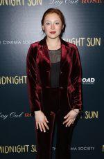 MINA SUNDWALL at Cinema Society & Day Owl Rose Host a Screening of Midnight Sun in New York 03/22/2018