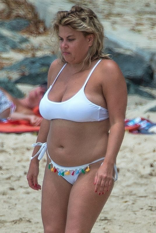 NADIA ESSEX in White Bikini at a Beach in Barbados 03/18/2018