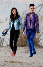 NATALIE PORTMAN and RAFFEY CASSIDY on the Set of Vox Lux at Plum Beach 03/05/2018