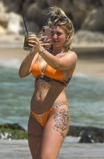 OLIVIA BUCKLAND in a Orange Bikini at a Beach in Barbados 03/13/2018