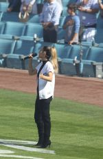PIA TOSCANO Sings National Anthem at Dodgers Game in Los Angeles 03/29/2018