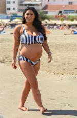 Pregnant CASEY BATCHELOR in Biikini at a Beach in Tenerife 03/15/2018