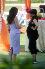 Pregnant EVA LONGORIA and ROSELYN SANCHEZ on the Set of Eva