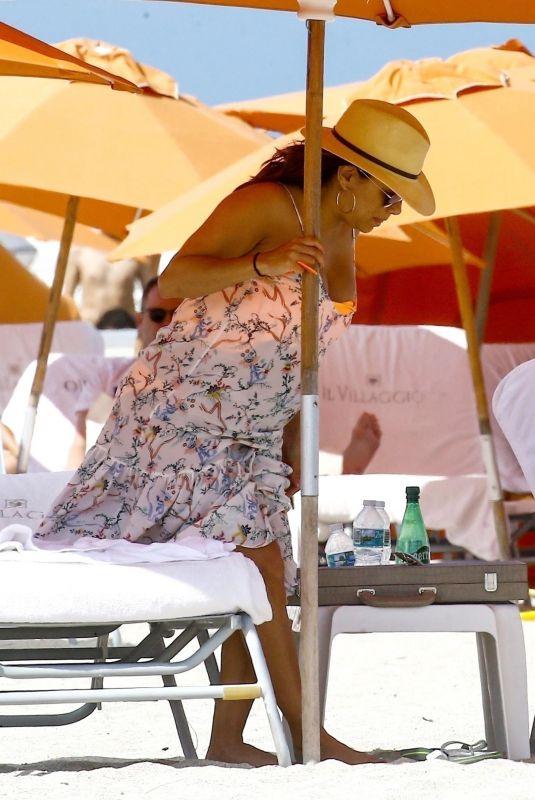 Pregnant EVA LONGORIA at a Beach in Miami 03/26/2018