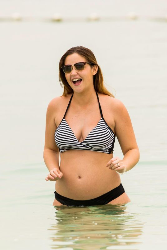Pregnant JACQUELINE JOSSA in Bikini at a Beach in Dubai 03/02/2018