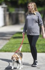 Pregnant KIRSTEN DUNST Out with Her Dog in Los Angeles 03/24/2018