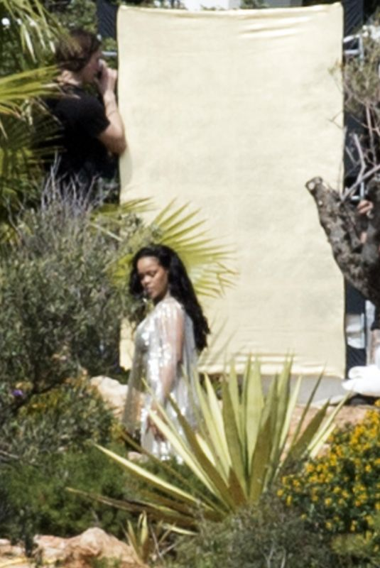 RIHANNA on the Set of a Photoshoot in Ibiza 03/21/2018