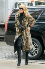 ROSIE HUNTINGTON-WHITELEY in a Leopard Print Coat Out in New York 03/29/2018