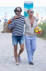 SHARON STONE and Angelo Boffa on the Beach in Miami 03/09/2018