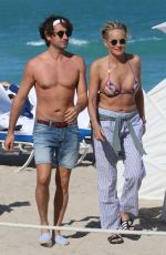 SHARON STONE in Bikini at a Beach in Miami 03/09/2018
