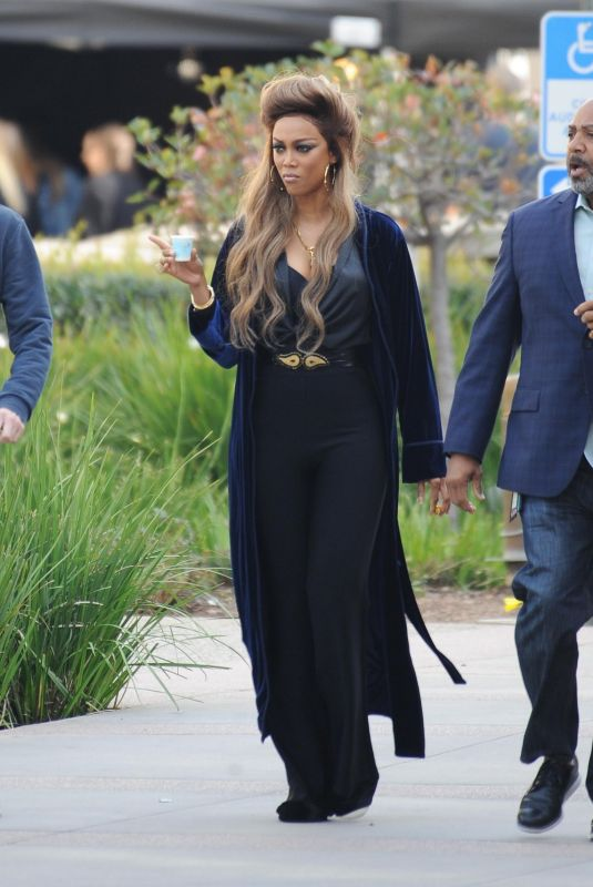 TYRA BANKS Arrives on the Set of America