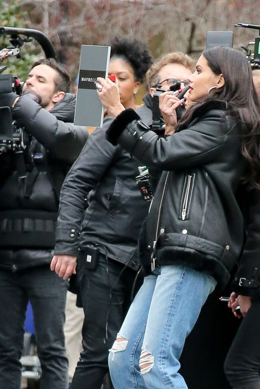 ADRIANA LIMA on the Set of a Maybelline Commercial in New York 04/17/2018