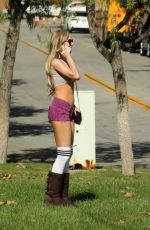 ANA BRAGA in Crop Top and Shorts Out in Calabasas 04/08/2018