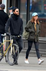 AUBREY PLAZA and Justin Theroux Out in New York 03/25/2018