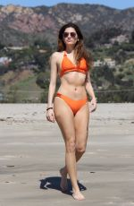 BLANCA BLANCO in a Orange Bikini at a Beach in Malibu 04/03/2018