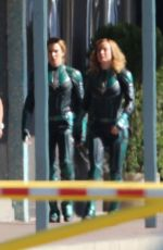 BRIE LARSON on the Set of Captain Marvel in Los Angeles 04/26/2018