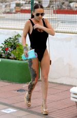 CHANTELLE CONNELLY in Black Swimsuit at a Pool in Gran Canaria 04/27/2018