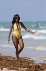 CLAUDIA JORDAN in Swimsuit Celebrates Her 45th Birthday in Miami Beach 04/13/2018