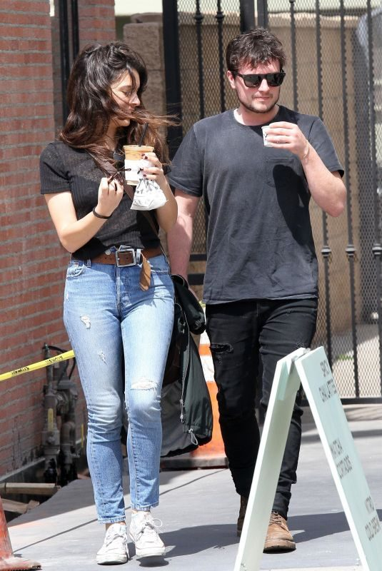 CLAUDIA TRAISAC and Josh Hutcherson Leaves Alfred's Coffee in Los Angeles 04/05/2018