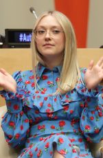 DAKOTA FANNING Speaks at United Nations World Autism Day Meetings in New York 04/05/2018