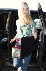 ELLE FANNING at LAX Airport in Los Angeles 04/20/2018