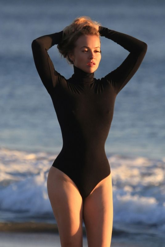 ELLEN ALEXANDER in Swimsuit on the Set of a Photoshoot in Malibu 04/10/2018