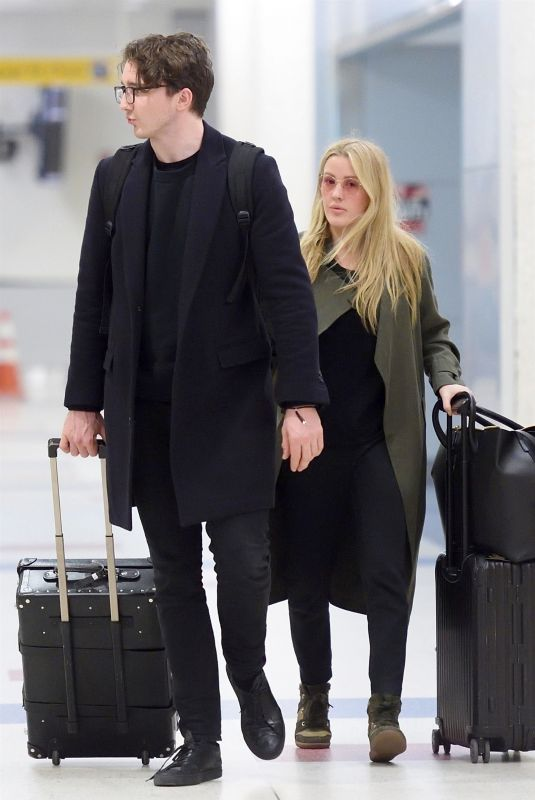 ELLIE GOULDING and Caspar Jopling at JFK Airport in New York 04/01/2018