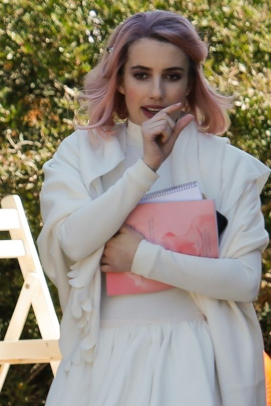EMMA ROBERTS on the Set of Paradise HIlls in Barcelona 04/05/2018