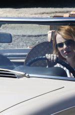 EMMA STONE Drives Her Classic Convertible in Malibu 04/25/2018