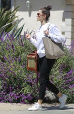 EMMY ROSSUM with Her Dog in a Pet Purse Out in Hollywood 04/11/2018