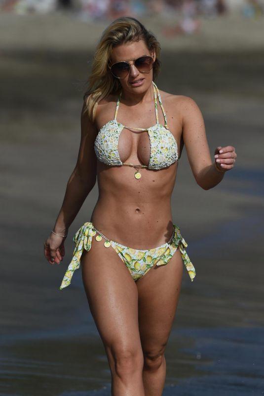 FERNE MCCANN and DANIELLE ARMSTRONG in Bikinis at a Beach in Spain 04/27/2018