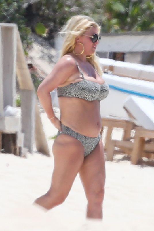 JESSICA SIMPSON in Bikini at a Beach in Bahamas 04/27/2018